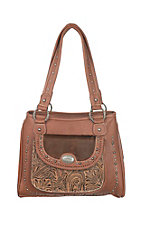 Trinity Ranch Brown Floral Embossed with Brass Details Western Purse