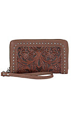 Trinity Ranch Brown with Floral Tooling & Stud Border Zip Around Wallet