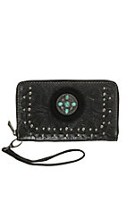 Trinity Ranch Black Floral Tooled with Turquoise Stone Concho Zip Around Wallet
