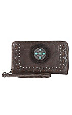 Trinity Ranch Coffee Floral Tooled with Turquoise Stone Concho Zip Around Wallet