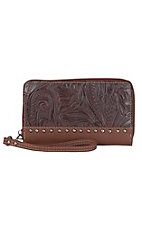 Trinity Ranch Brown with Floral Tooling & Studs Zip Around Wallet