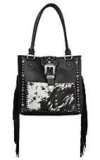 Trinity Ranch Black with Calf Hair and Fringe Concealed Carry Tote