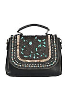 Trinity Ranch Black with Tan Stitching and Turquoise Accents Purse