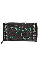 Trinity Ranch Black with Tan Stitching and Turquoise Accents Wallet
