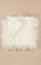 HiEnd Accents White Mongolian Faux Fur Throw Blanket