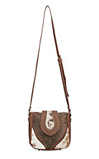 Trinity Ranch Women's Tooled Hair on Leather Brown Crossbody