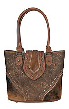 Trinity Ranch Women's Tooled Hair on Leather Brown Concealed Carry Tote