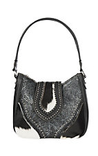 Trinity Ranch Women's Tooled Hair on Leather Black Concealed Carry Tote