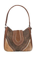 Trinity Ranch Women's Brown Tooled Hair on Leather Concealed Carry Tote