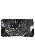 Trinity Ranch Women's Tooled Hair on Leather Black Wallet