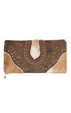 Trinity Ranch Women's Tooled Hair on Leather Brown Wallet