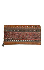 Trinity Ranch Brown Tooled Floral Design Leather Trifold Wallet