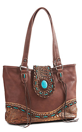 Trinity Ranch Women's Brown Gator With Turquoise Concho Tote