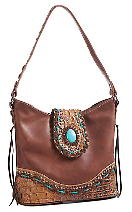 Trinity Ranch Women's Brown Gator With Turquoise Concho Purse