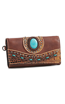 Trinity Ranch Women's Brown Gator With Turquoise Concho Wallet