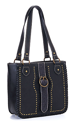 Trinity Ranch Black Tooled Leather Collection Concealed Carry Tote
