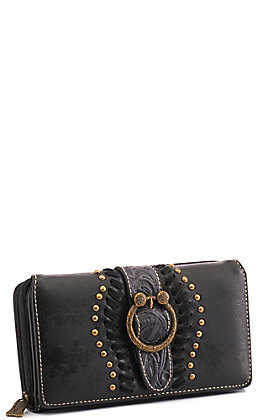 Trinity Ranch Black Faux Leather with Tooled Strap and Gold Buckle Wallet