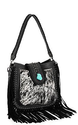 Trinity Ranch Black Faux Leather with Cowhide and Turquoise Fringe Satchel Purse