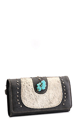 Trinity Ranch Black Faux Leather Cowhide with Turquoise and Studs Wallet