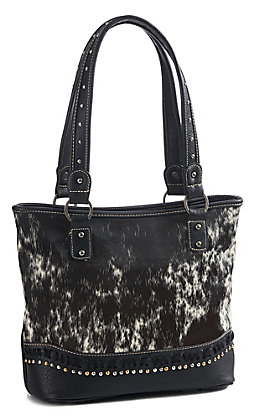 Trinity Ranch Women's Black Cowhide Concealed Carry Tote