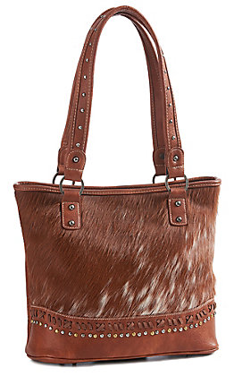 Trinity Ranch Women's Brown Cowhide Concealed Carry Tote