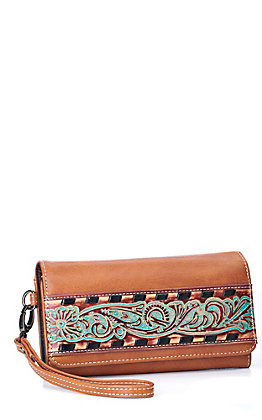 Trinity Ranch Women's Brown Tooled Collection Wallet / Wristlet