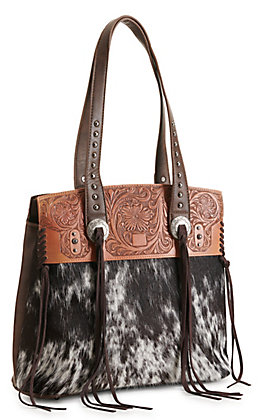 Trinity Ranch Brown and White Hair-on with Tan Tooled Leather and Fringe Tote