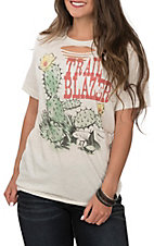 Women's Oatmeal Cactus Trail Blazer Short Sleeve Casual Knit Tee
