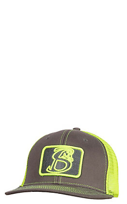 Stackin Bills Charcoal with Lime Patch Logo and Mesh Snap Back Cap
