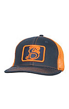 Stackin Bills Navy with Orange Patch Logo and Mesh Snap Back Cap