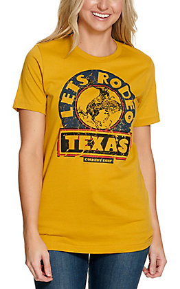 Country Deep Women's Mustard Lets Rodeo Texas Graphic Short Sleeve T-Shirt