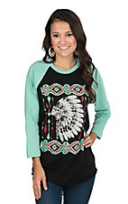 Crazy Train Women's Black Indian Aztec Screen Print with Turquoise Long Sleeves Baseball Style Casual Knit Top