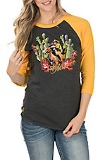 Rodeo Quincy Women's Charcoal and Gold Cactus Buckaroo Baseball Sleeves Casual Knit