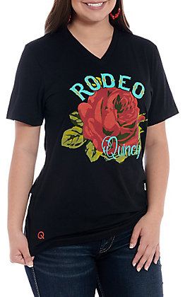 Rodeo Quincy Black Short Sleeve V-Neck Top