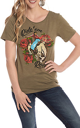 Rodeo Quincy Women's Olive Ride 'Em Rosita Short Sleeve T-Shirt