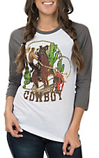 Rodeo Quincy Women's White and Grey Cowboy Baseball Sleeves Casual Knit