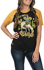 Rodeo Quincy Women's Black and Gold Cactus Buckaroo Baseball Sleeves Casual Knit