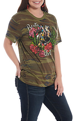 e7cf0f64 Rodeo Quincy Women's Camo Bonita Chica Short Sleeve T-Shirt