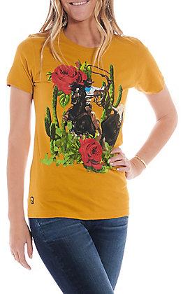 Rodeo Quincy Women's Mustard Roping Cowboy Short Sleeve T-Shirt