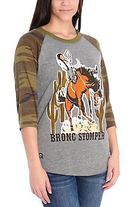 Rodeo Quincy Grey Bronc Stomper Camo Raglan Sleeves Tee