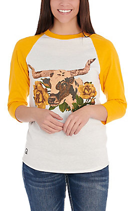 Rodeo Quincy White Libby Longhorn with Gold Raglan Sleeves Tee