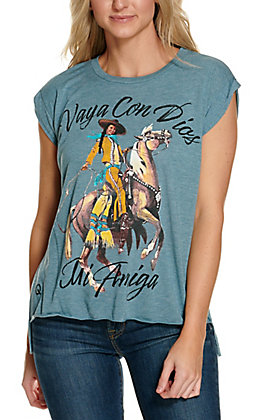 Rodeo Quincy Women's Blue Vaya Con Dios Short Sleeve Graphic Tee