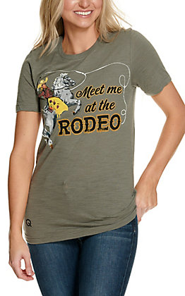 Rodeo Quincy Women's Heather Grey Meet Me At The Rodeo Short Sleeve T-Shirt