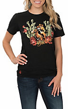 Rodeo Quincy Women's Black Cactus Buckaroo Short Sleeve Casual Knit Shirt