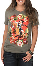 Rodeo Quincy Women's Olive Mustang Sally Short Sleeve Casual Knit Tee