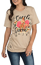 Rodeo Quincy Women's Taupe Cattle Queen Short Sleeve Casual Knit Tee