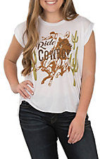 Rodeo Quincy Women's White Ride Em Cowboy Short Sleeve Casual Knit Tee
