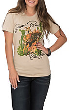 Rodeo Quincy Women's Cream Bronc Buster Short Sleeve Casual Knit Tee
