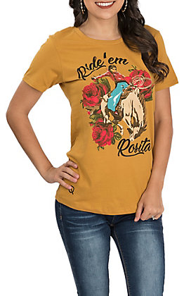 Rodeo Quincy Women's Gold Ride 'Em Rosita Short Sleeve Casual Knit Tee