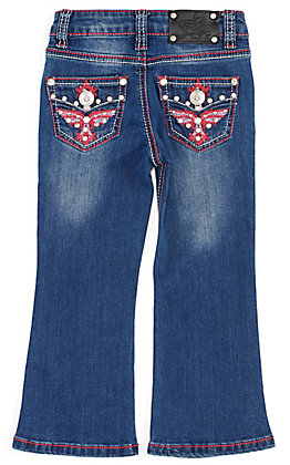 Wired Heart Toddler Girls' Pink Embroidered Wing Pocket Boot Cut Jeans